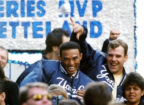 Rivera y Wetteland en la celebración del título de 1996. ||| Foto tomada de nydailynews.com