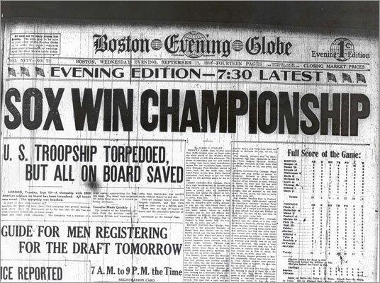 Registro de prensa del título de 1918. ||| Foto tomada de boston.com/