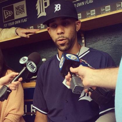 David Price respondiendo las primeras preguntas como nuevo integrante de Tigres luego de un paso exitoso por Rays. ||| Foto tomada de @Tigers